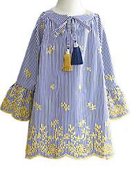 cheap -Baby Girls' Striped Long Sleeve Dress
