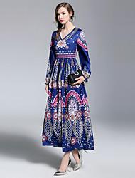 abordables -Mujer Boho / Chic de Calle Corte Swing Vestido - Estampado, Floral Maxi