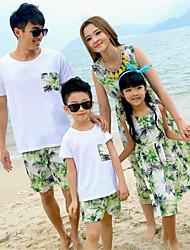 baratos -Olhar de família Floral Manga Curta Conjunto