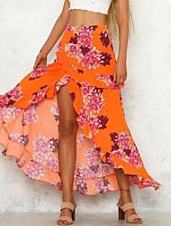 cheap -Women's Going out / Beach Maxi Trumpet / Mermaid Skirts - Floral High Waist