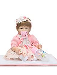 Недорогие -NPKCOLLECTION Куклы реборн Дети 18 дюймовый Силикон - Искусственные имплантации Голубые глаза Детские Девочки Игрушки Подарок
