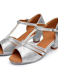 baratos -Para Meninas Sapatos de Dança Latina Couro Sintético Salto Salto Grosso Sapatos de Dança Preto / Prata / Fúcsia / Espetáculo / Ensaio / Prática