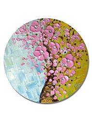 cheap -STYLEDECOR Modern Hand Painted Abstract Circular Frame Yellow and Blue Background Pink Flowers Trees Oil