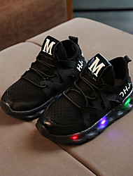 cheap -Boys' / Girls' Shoes Mesh / PU(Polyurethane) Spring / Fall / Spring & Summer Comfort / Light Up Shoes Sneakers Lace-up / LED for Kids / Baby White / Black / Pink
