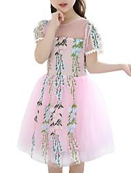 cheap -Kids Girls' Sweet Geometric Embroidered Short Sleeve Knee-length Dress / Cotton