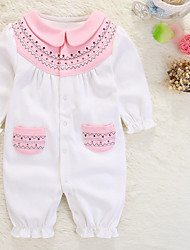 cheap -Baby Girls' Basic Solid Colored / Color Block Patchwork Long Sleeve Cotton Romper
