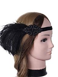 abordables -Gatsby le magnifique Rétro Années 20 Costume Femme Bandeau Garçonne Coiffure Noir Vintage Cosplay Plume Sans Manches Déguisement d'Halloween