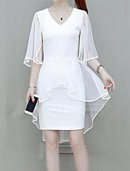 Недорогие -Жен. Уличный стиль / Изысканный Большие размеры Тонкие Брюки - Однотонный Белый / Для вечеринок / V-образный вырез / Офис / Сексуальные платья