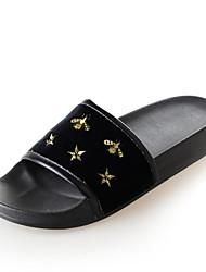 baratos -Mulheres Sapatos Camurça Verão Conforto Chinelos e flip-flops Sem Salto Dedo Aberto Preto / Rosa claro