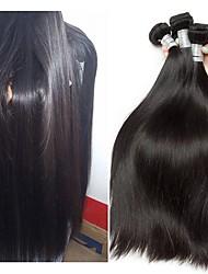 baratos -3 pacotes Cabelo Brasileiro Liso Cabelo Humano Cabelo Bundle / Um Pacote de Solução / Extensões de Cabelo Natural 10-28 polegada Tramas de cabelo humano Fabrico à Máquina Sedoso / Natural / Nova