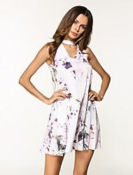 preiswerte -Damen Chiffon Kleid - Druck, Blumen Übers Knie
