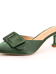 baratos -Mulheres Sapatos Cetim / Couro Ecológico Verão Chanel Tamancos e Mules Salto Sabrina Dedo Apontado Preto / Verde / Amêndoa