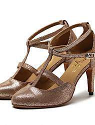 cheap -Women's Modern Shoes Leather Sneaker Paillette Slim High Heel Customizable Dance Shoes Brown