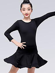 abordables -Danse latine Robes Fille Entraînement / Utilisation Fibre de Lait Noeud en satin / Ruché Manches Longues Taille moyenne Robe