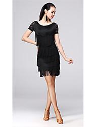 abordables -Danse latine Tenue Femme Entraînement Fibre de Lait Gland Manches Courtes Taille moyenne Jupes / Haut