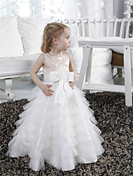 cheap -A-Line Floor Length Flower Girl Dress - Satin / Tulle Sleeveless Jewel Neck with Appliques / Sash / Ribbon / Tiered by LAN TING BRIDE®