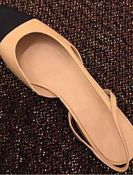 abordables -Femme Chaussures Cuir Nappa Eté A Bride Arrière Sandales Talon Bas Bout rond Noir / Amande