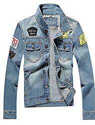 Недорогие -Муж. Джинсовая куртка Винтаж - Геометрический принт