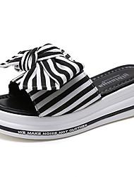 baratos -Mulheres Sapatos Lona Verão Chanel Sandálias Creepers Laço Preto / Vermelho / Listrado