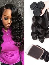 Недорогие -3 комплекта с закрытием Перуанские волосы Волнистый 8A Натуральные волосы Человека ткет Волосы Удлинитель Волосы Уток с закрытием 8-22 дюймовый Естественный цвет Ткет человеческих волос 4x4 Закрытие