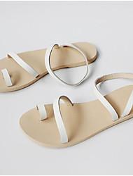 Недорогие -Жен. Обувь Наппа Leather Лето Удобная обувь Сандалии На плоской подошве Открытый мыс Белый / Черный
