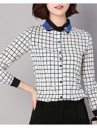 cheap -women's work shirt - check shirt collar