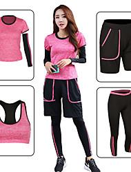 billiga -Dam Rand / Lappverk Yoga Suit - Grön, Rosa, Grå sporter Elastan Shorts / Sportbehåar / T-shirt Löpning, Fitness, Gym Kortärmad Sportkläder Snabb tork Elastisk
