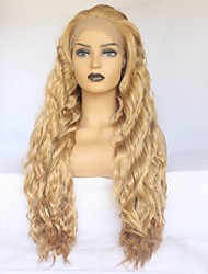 cheap -Synthetic Lace Front Wig Wavy Middle Part Synthetic Hair Heat Resistant / Elastic / Women Golden Wig Women's Long Lace Front Wig / Yes