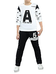 cheap -Kids Boys' Street chic / Punk & Gothic Sports Black & White Print Print Long Sleeve Cotton Clothing Set