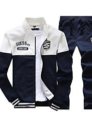 economico -Per uomo Taglia piccola Sport Essenziale Manica lunga Activewear Set Monocolore / Alfabetico Colletto alla coreana