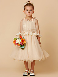 cheap -A-Line Knee Length Flower Girl Dress - Lace / Tulle Half Sleeve Jewel Neck with Bow(s) / Sash / Ribbon / Flower by LAN TING BRIDE®