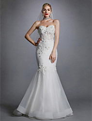 cheap -Mermaid / Trumpet Sweetheart Neckline Sweep / Brush Train Lace / Tulle Made-To-Measure Wedding Dresses with Appliques / Lace by LAN TING