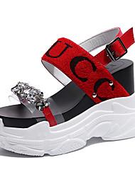 economico -Per donna Scarpe PU (Poliuretano) Estate Con cinghia Sandali Footing Zeppa Occhio di pernice Con diamantini Bianco / Nero / Rosso / Slogan