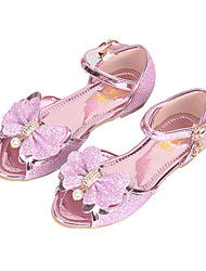 cheap -Girls' Shoes PU(Polyurethane) Spring / Fall Flower Girl Shoes Sandals Bowknot / Beading / Buckle for Kids Purple / Pink / Peep Toe / Party & Evening
