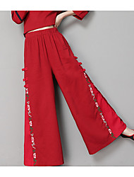 cheap -Women's Chinoiserie Wide Leg / Chinos Pants - Solid Colored / Floral Embroidered