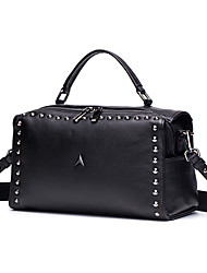 cheap -Women's Bags Cowhide Tote / Shoulder Bag Rivet / Zipper Black