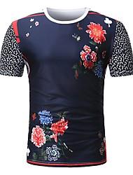 baratos -Homens Camiseta Estampado, Floral / Estampa Colorida / Retrato