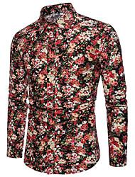 Недорогие -мужская рубашка - цветочный цветной ворот рубашки блока
