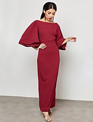 رخيصةأون -فستان نسائي قياس كبير ثوب ضيق أناقة الشارع راقي طويل للأرض نحيل لون سادة خصر عالي رقبة باتو عمل / مثير