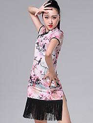 cheap -Latin Dance Dresses Women's Performance Ice Silk Pattern / Print / Ruching / Tassel Short Sleeve Dress