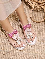 abordables -Mujer Zapatos Piel de Oveja Verano Confort Sandalias Tacón Plano Rosa / Azul Claro
