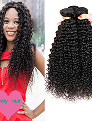 cheap -3 Bundles Malaysian Hair Curly Human Hair One Pack Solution 8-28 inch Human Hair Weaves Machine Made Life / Classic / Best Quality Natural Color Human Hair Extensions Women's