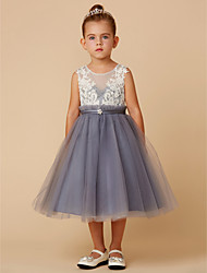 cheap -A-Line Knee Length Flower Girl Dress - Lace / Tulle Sleeveless Jewel Neck with Lace / Sash / Ribbon by LAN TING BRIDE®