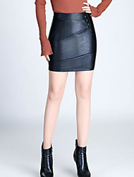 cheap -Women's Going out Faux Leather Bodycon Skirts - Solid Colored High Waist