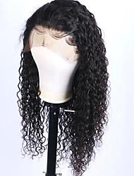 Недорогие -Remy Лента спереди Парик Бразильские волосы Волнистый Парик 130% Плотность волос с детскими волосами Природные волосы Парик в афро-американском стиле Жен. Короткие Длинные Средняя длина
