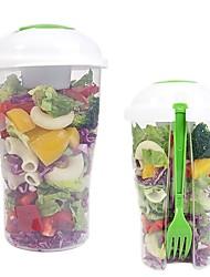 baratos -recipiente de copo de salada fresca servindo shaker de copo com armazenamento de comida de garfo de recipiente de molho