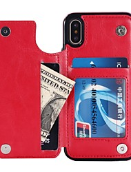 billiga -fodral Till Apple iPhone X / iPhone 8 / iPhone XS Plånbok / Korthållare / med stativ Skal Enfärgad Hårt PU läder för iPhone XS / iPhone XR / iPhone XS Max