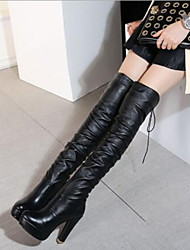 cheap -Women's Shoes Suede / PU(Polyurethane) Fall & Winter Fashion Boots Boots Stiletto Heel Round Toe Over The Knee Boots Black / Party & Evening