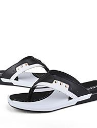 cheap -Men's Shoes Cowhide Summer Comfort Slippers & Flip-Flops Black / Red