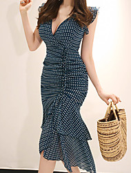 cheap -Women's Street chic Sheath / Trumpet / Mermaid Dress - Polka Dot Print